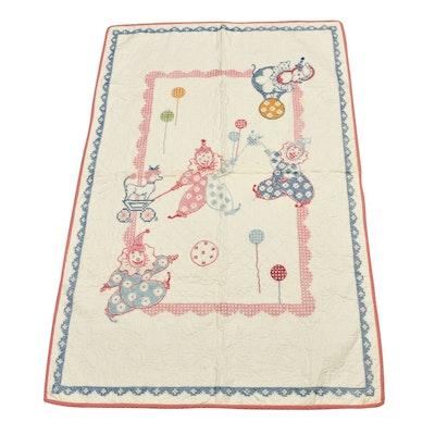 Handmade Circus Motif Cross-Stitch Embroidered Crib Quilt, Mid-20th Century