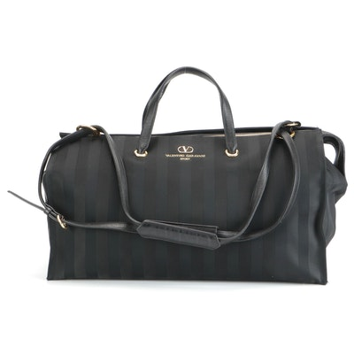 Valentino Garavani Sport Black Striped Silk and Leather Tote Bag