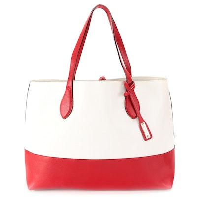 Abro Tote Bag in Red and White Saffiano Leather