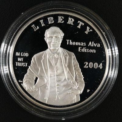 2004-P Thomas Alva Edison Proof Commemorative Silver Dollar