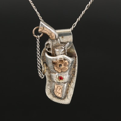 Gun and Holster Pendant on Sterling Figaro Link Chain