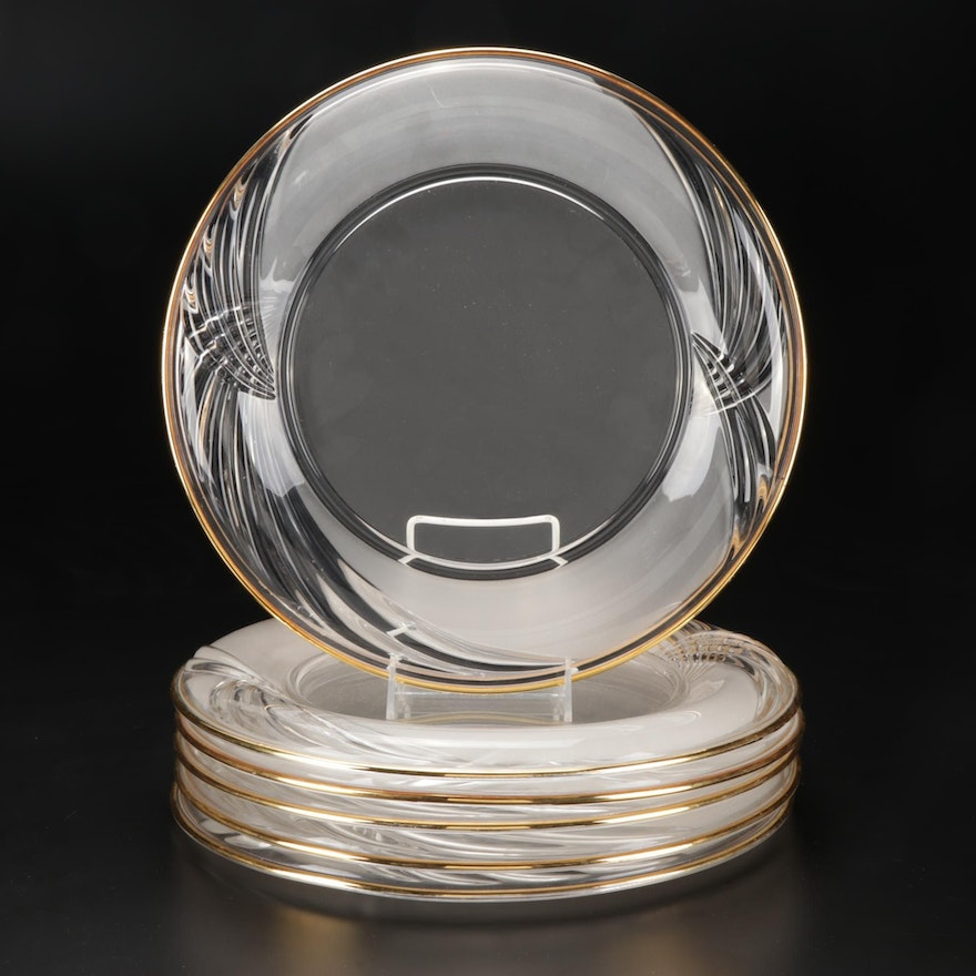 Gold Rim Pressed Glass Chargers