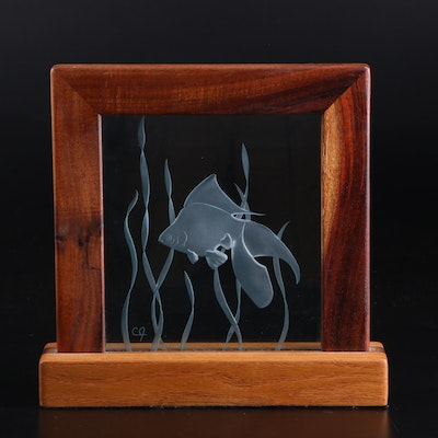 Reverse Etched Glass Panel of Fish in Free Standing Frame, Circa 2000