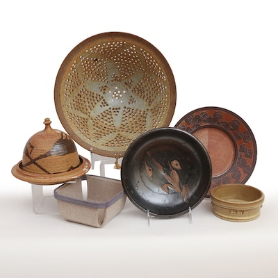 Colander, Domed Cheese Server and Other Glazed Pottery Tableware