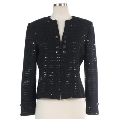 St. John Evening Sequined Knit Jacket with Embellished Buttons