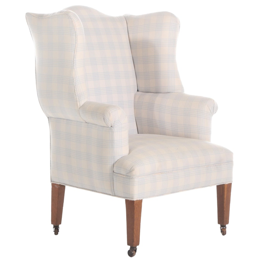 Upholstered Wingback Chair on Casters, 20th Century