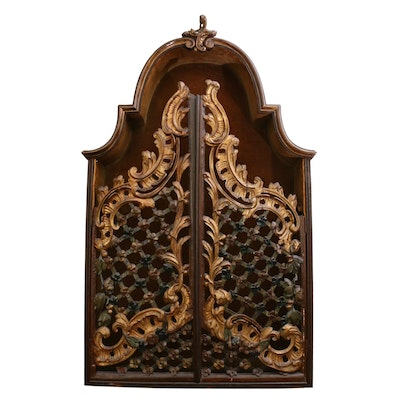 Louis XV Style Parcel-Gilt Lattice Front Wall Cabinet, 18th or 19th Century