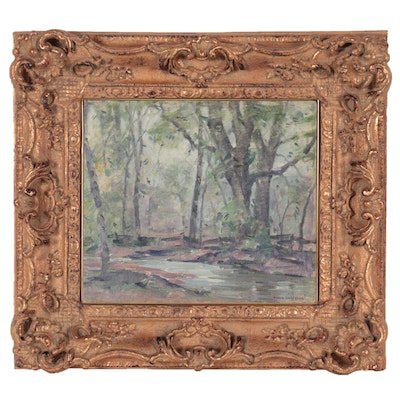 Frank Swift Chase Forest Landscape Oil Painting, Mid-20th Century