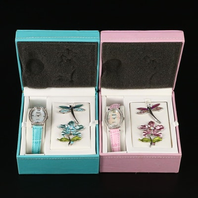 Two Sets of Gruen Wristwatches with Matching Dragon Fly and Floral Pins