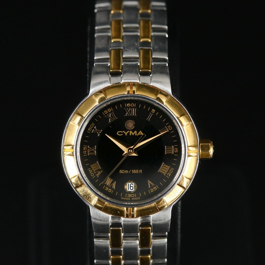 Cyma Two Tone Stainless Steel Quartz Wristwatch
