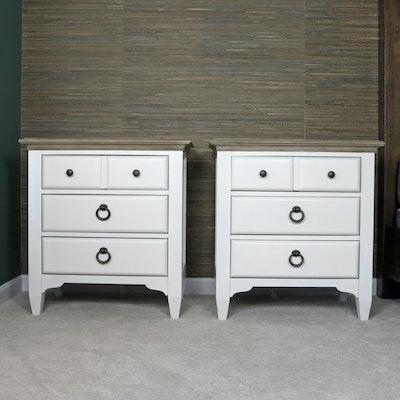 "Pair of Riverside Furniture ""Myra"" Painted-Wood Three-Drawer Nightstands"