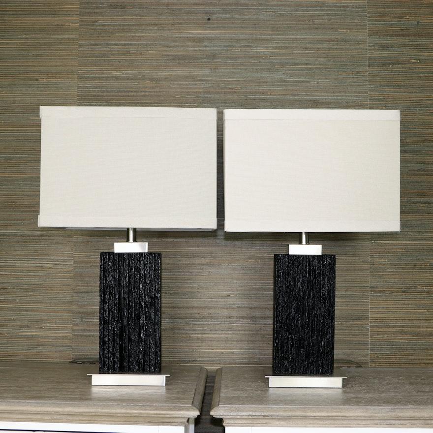 "Uttermost ""Pravus"" Black Slate Textured Geometric Table Lamps"
