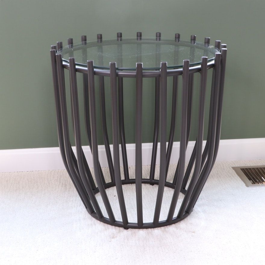 Metal Rod and Glass Top End Table