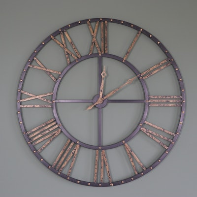 Metal Roman Numeral Wall Clock with Old Gold Accents