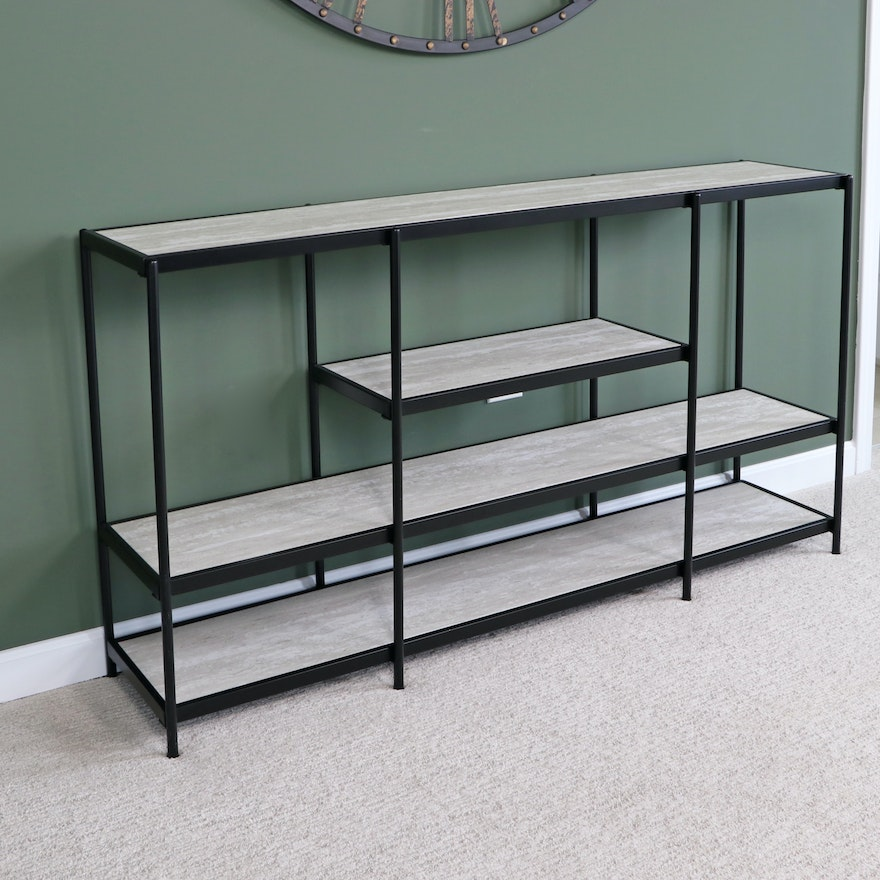 Metal and Engineered Wood Tiered Display Console Table