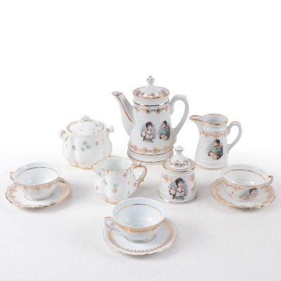 F.D. Porcelaine De Luxe Teaset with H & Co. Cream and Sugar, 20th Century