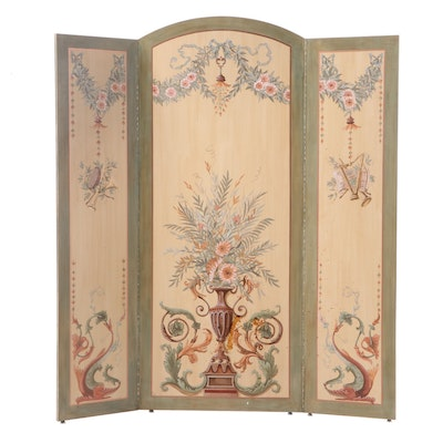 Ken Dean Paint-Decorated Rococo Style Three-Panel Screen