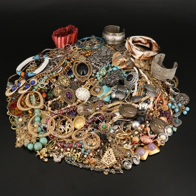 Jewelry Grouping Including Sterling, Swarovski and Bone