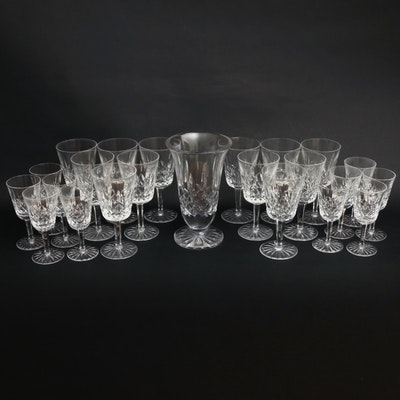"""Waterford Crystal """"Lismore"""" Stemware and Footed Vase, Mid to Late 20th C."""