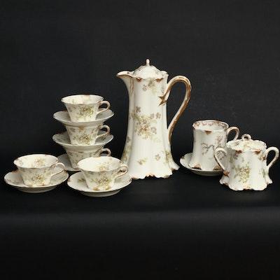 Haviland & Co. Limoges Floral Painted Porcelain Chocolate Set