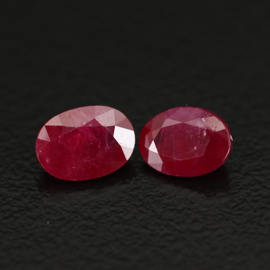 Loose 2.31 CTW Oval Faceted Rubies