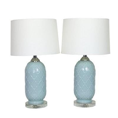 Pair of Pale Aqua Trellis Design Ceramic Table Lamps
