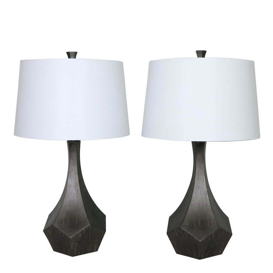 """Pair of Surya """"Braelynn"""" Metal Table Lamps with Linen Shades"""