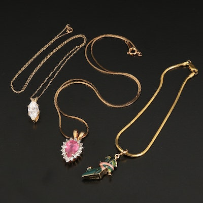 Necklaces and Bracelet Featuring 14K, Sterling and Kenneth Jay Lane