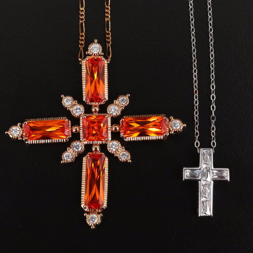 Sterling Cross Necklaces Featuring Tycoon with Pouch, Box