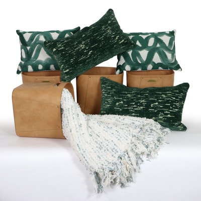 Hearth & Hand Faux Leather Storage Cubes, 3BM Accent Pillows, and Throw Blanket