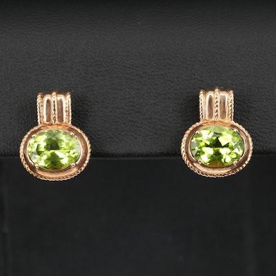 14K Peridot Earrings with Braided Detail