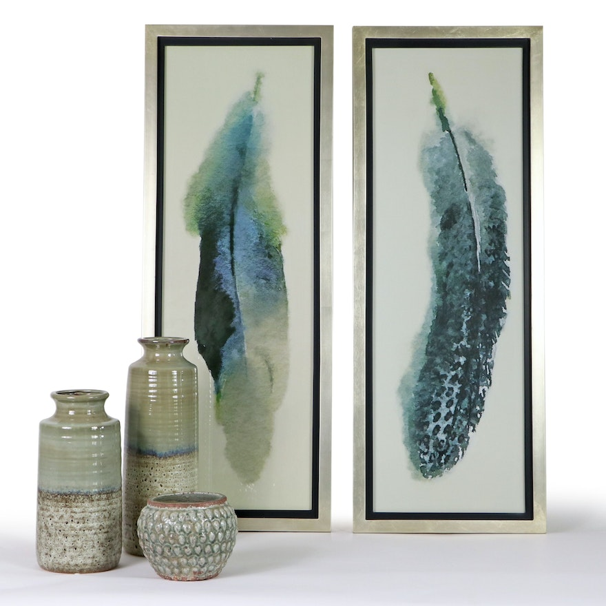 Giclées of Feathers With Glazed Earthenware Vases