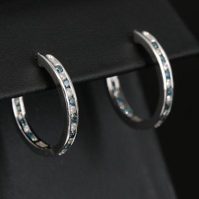 Sterling 1.00 CTW Diamond Inside-Out Hoop Earrings