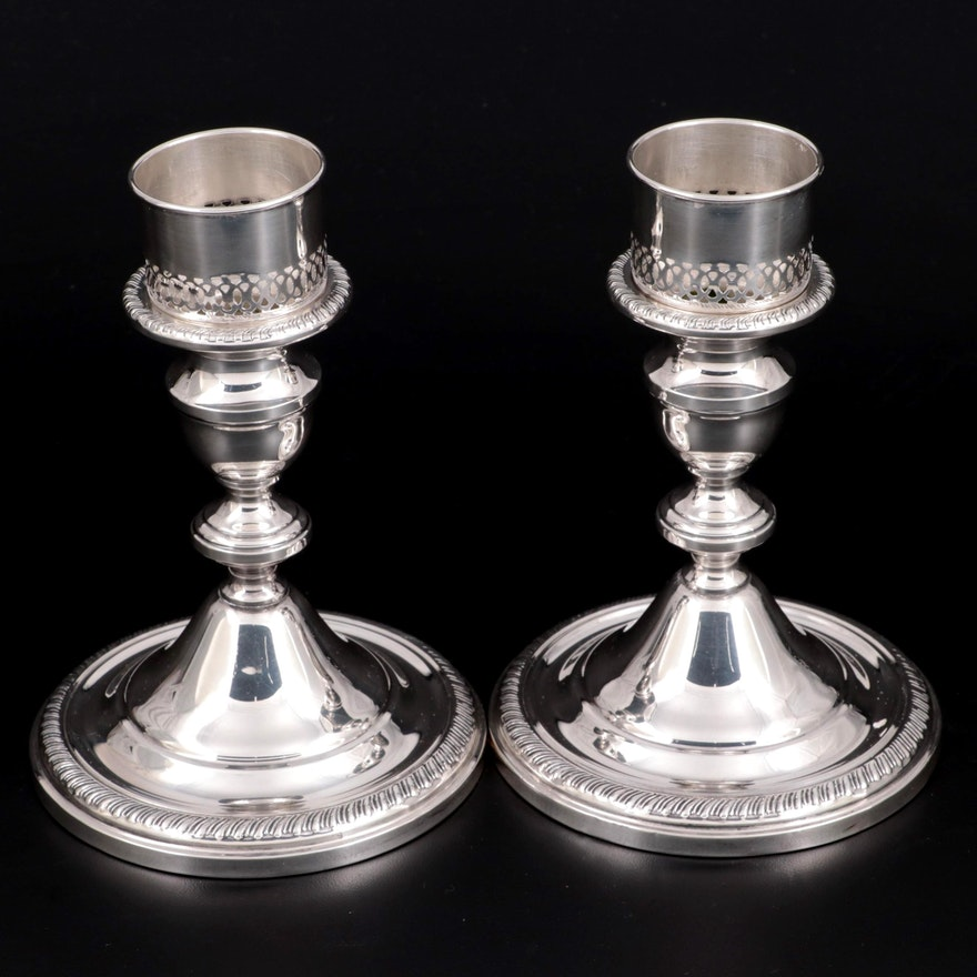 Towle Weighted Sterling Silver Candlesticks with Removable Pierced Converters