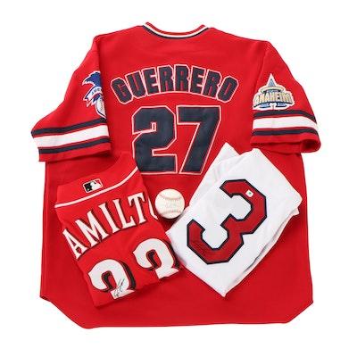 Hamilton, Ortiz Signed Jerseys, Jered Weaver Signed Ball and Guerrero Jersey