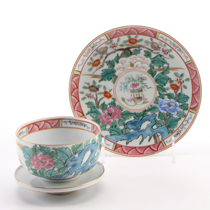 Chinese Famille Rose Porcelain Covered Bowl and Saucer