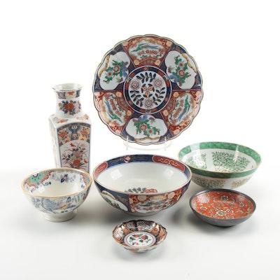 """P. Regout """"Timor"""" Bowl with Japanese Imari Tableware"""
