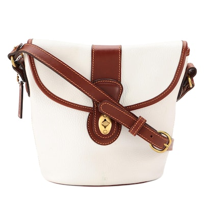 Coach Front Flap Bucket Bag in White Grained and Brown Smooth Leather