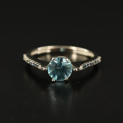 14K Swiss Blue Topaz and Sapphire Ring