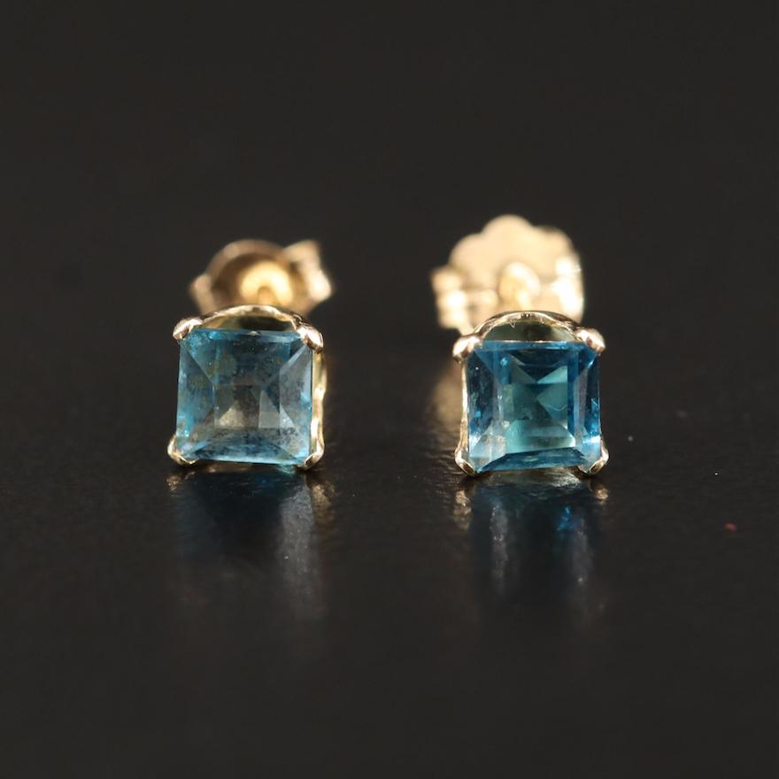14K London Blue Topaz Stud Earrings