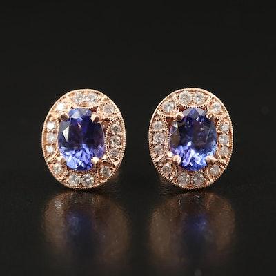 14K Rose Gold Tanzanite and Diamond Openwork Halo Earrings