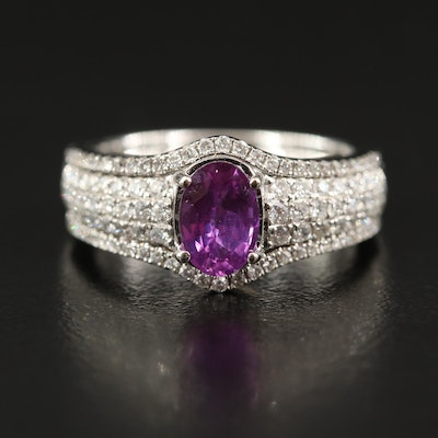 14K 1.15 CT Pink Sapphire and Diamond Ring and Jacket