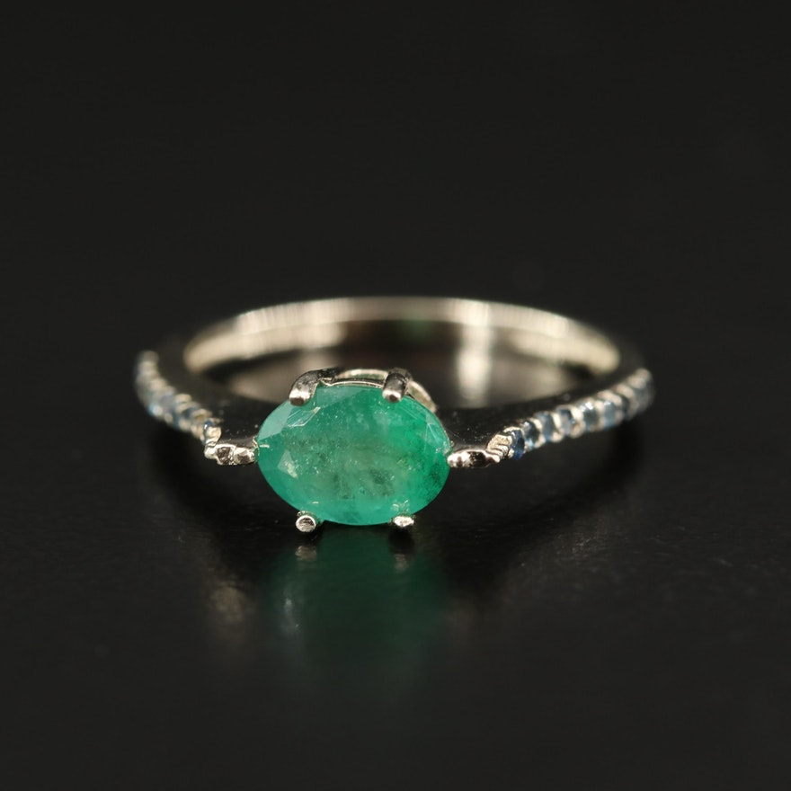 14K Emerald and Sapphire East-West Ring