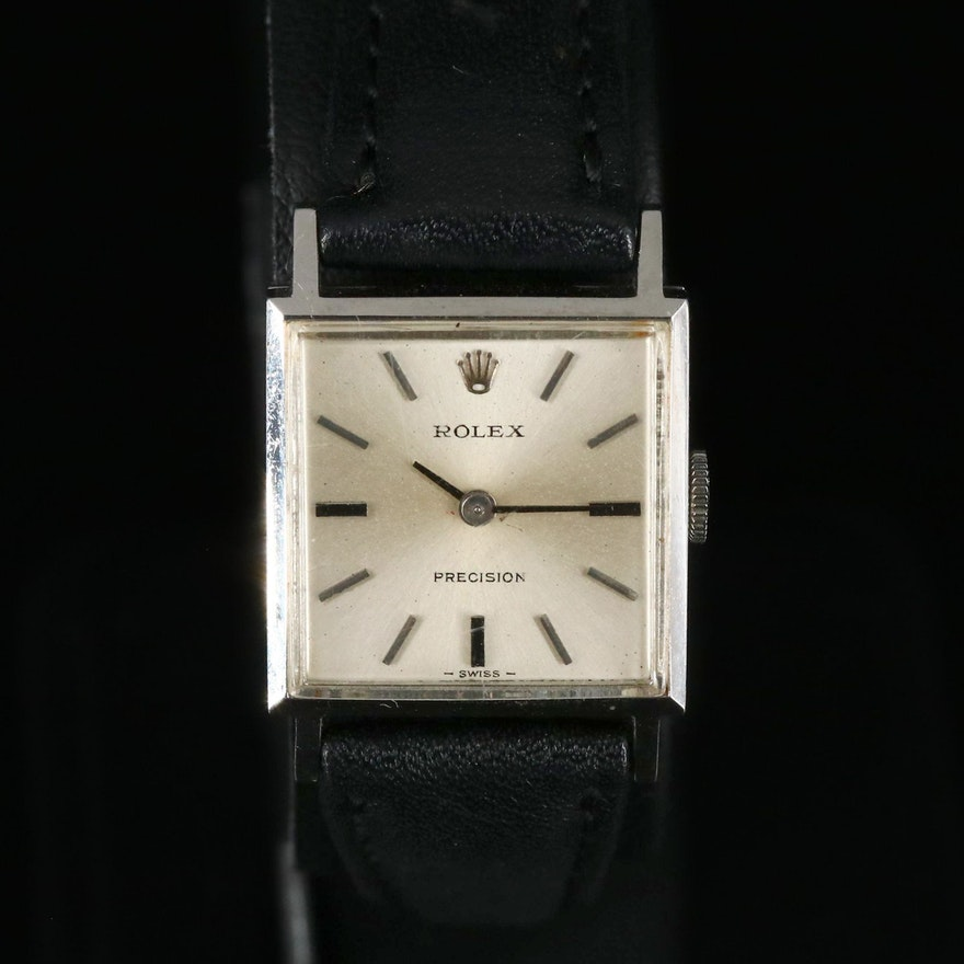 1969 Rolex Precision Stainless Steel Stem Wind Wristwatch