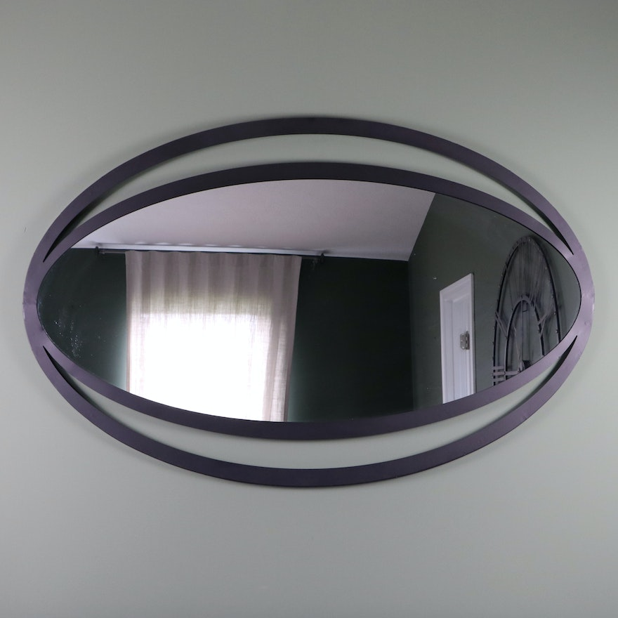 Moe's Home Collection Iron Frame Ovoid Wall Mirror, Contemporary