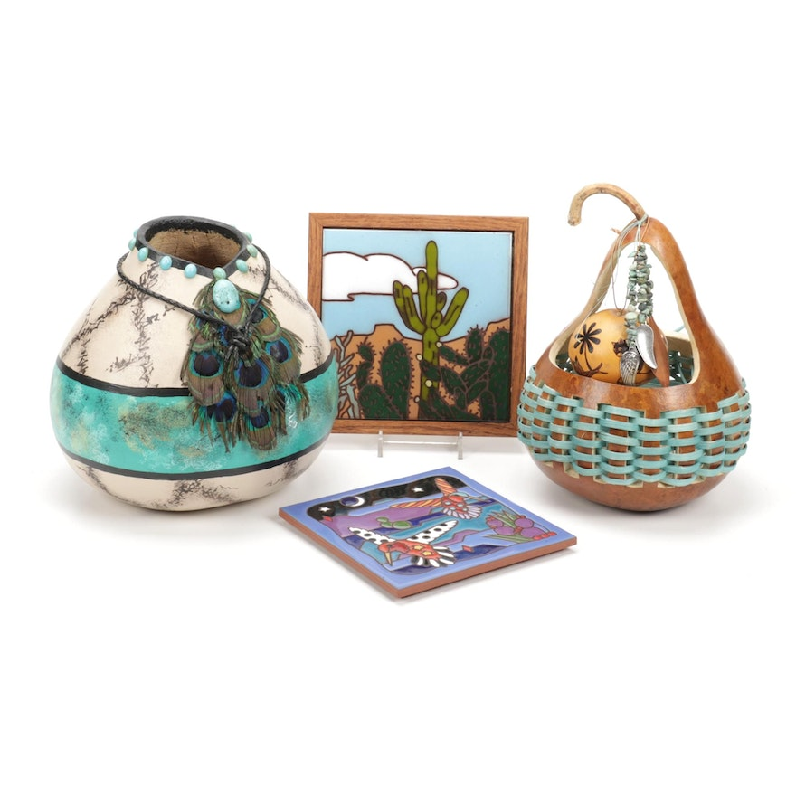Handcrafted Southwestern Style Gourds, Tile and Other Decor