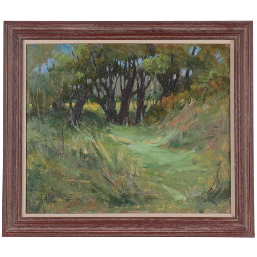 """Landscape Oil Painting """"Tree Grouping,"""" Late 20th Century"""