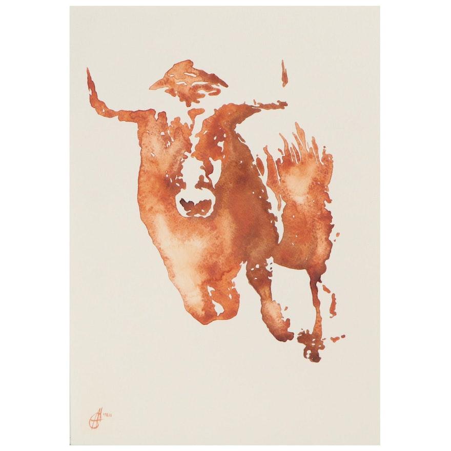 Alyona Glushchenko Watercolor Painting of Bull, 2021