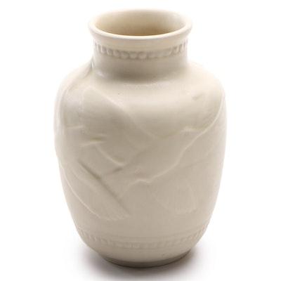 Rookwood Pottery Matte Ivory Glaze Bird Motif Vase, 1945