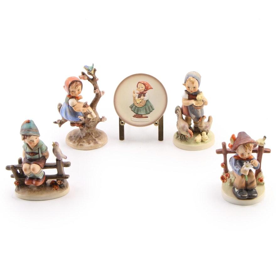 "Goebel ""Wayside Harmony"" with Other Porcelain Hummel Figurines and Dish"